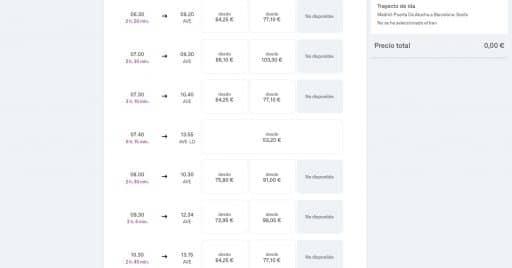 Captura de pantalla del nuevo sistema de venta de billetes de Renfe