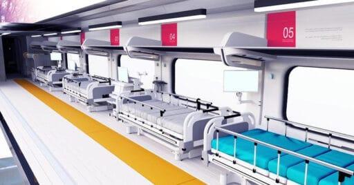 Diseño interior del tren hospital propuesto por la Agencia Espacial Europea