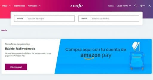 Desde hoy los billetes de Renfe se pueden pagar usando Amazon Pay