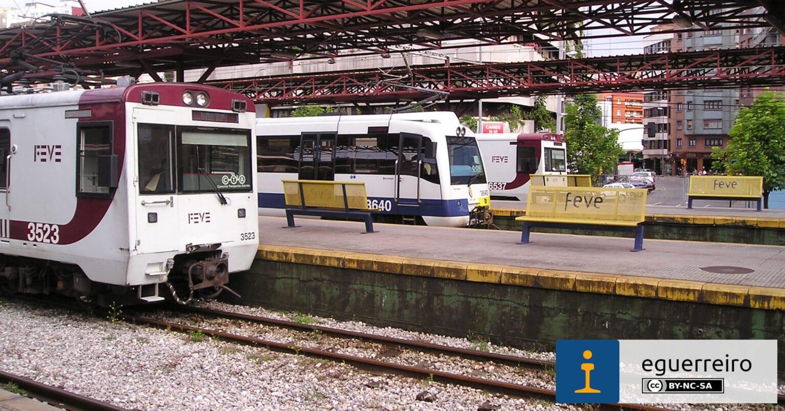 Trenes de Feve en la antigua estación de Gijón Jovellanos