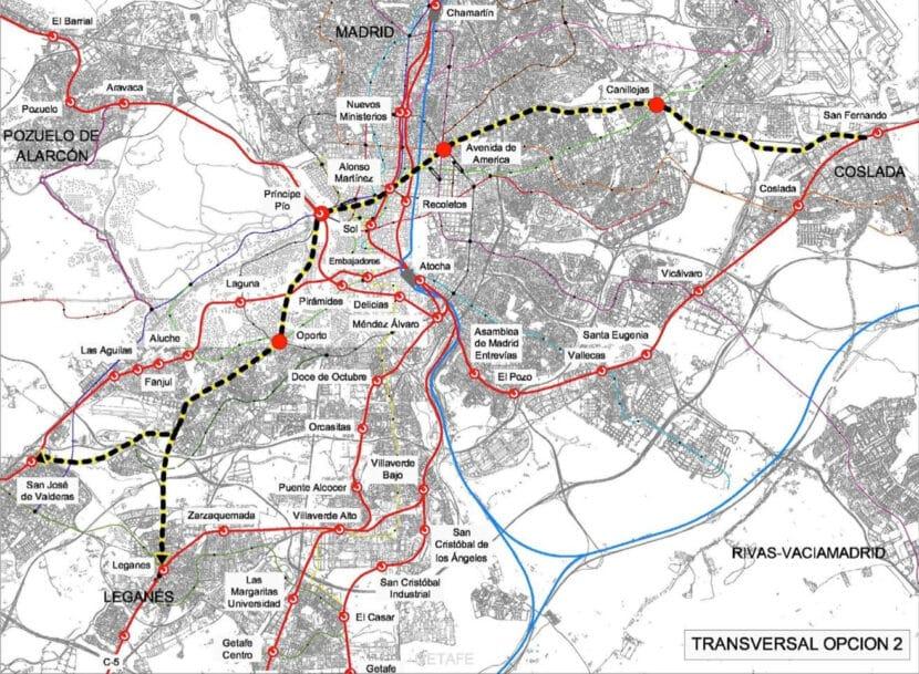 Una de las opciones para construir el nuevo eje transversal de Madrid