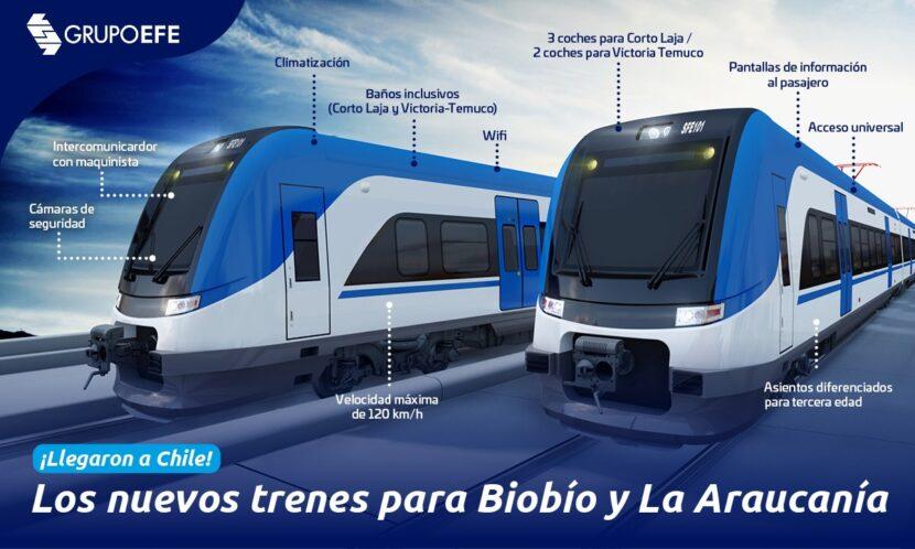 Infografía con las principales características de los nuevos trenes para FESUR. GRUPOEFE.