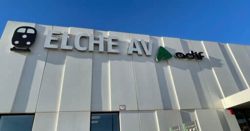 Nueva estación de Elche en el tramo de alta velocidad Monforte del Cid-Orihuela. RENFE.