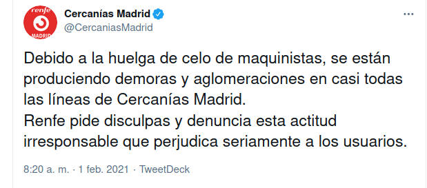 Tweet de Renfe pidiendo disculpas por la huelga de celo de maquinistas de Cercanías en Madrid