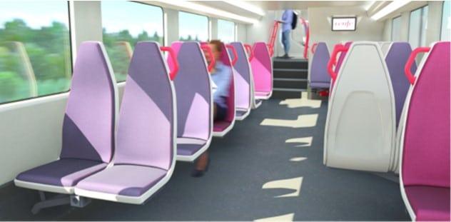Detalle de los asientos de los nuevos trenes de Cercanías de Alstom. RENFE.