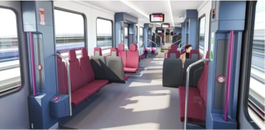 Interior de los nuevos trenes de Cercanías de Stadler. RENFE.