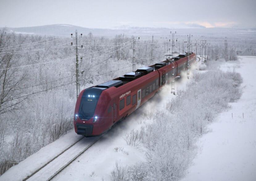Rénder de un Civity Nordic de CAF con la imagen de Krösatågen circulando en Suecia con nieve. CAF.